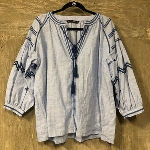Zara Blue Boho Dolman Sleeve Top